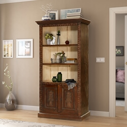 Dorval 18th Century Antique Hand-carved 2-Tone Bookcase