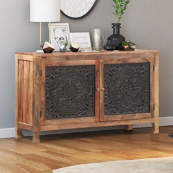Meknes Hand-Carved Mango Wood Farmhouse Sideboard Cabinet