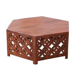 Moroccan Style Solid Wood Hexagonal Coffee table