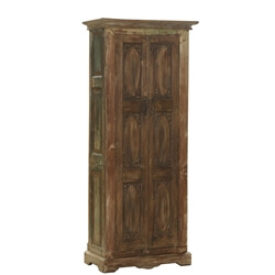 Lima Antique Distressed Reclaimed Wood Carved Panel Armoire