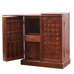 Solid Wood Flip Top Expandable Home Bar Cabinet