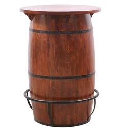 Sharon Rustic Solid Wood Barrel Shaped Bar Table