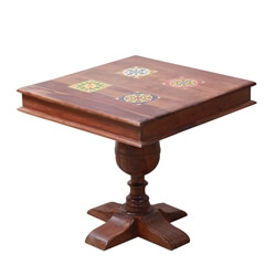 Inuvik Solid Wood Tile Inlay Square Small Dining Table