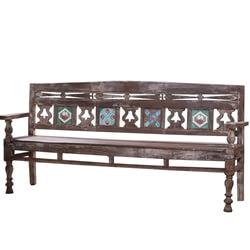 Vernal Handcrafted Rustic Reclaimed Wood Colonial Bench