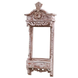 42 Inch Dauphin Distressed White Mango Wood Wall Mirror Frame