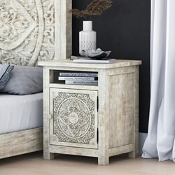 Memphis Weathered Hand-carved Solid Mahogany Wood Nightstand