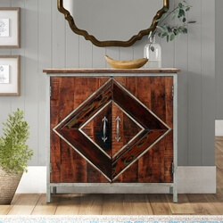Belfort Solid Wood Diamond Pattern Industrial Storage Cabinet