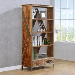Belfort Solid Wood Open Shelf Industrial Display Rack with drawers