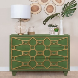 Rimouski Solid Wood 3 Drawer Accent Green Bedroom Dresser