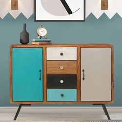 Souris Solid Wood Retro Style Rustic Sideboard Cabinet