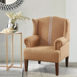 Sudbury Classic Upholstered Beige Accent Wingback Armchair