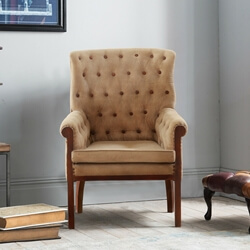 Gaspe Fabric Upholstered Solid Wood Tufted Accent Armchair