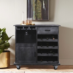 Knutsford Rustic Black Bar Cart with Wine Rack and Caster Wheels