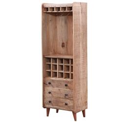 Marlow Rustic Solid Wood 3 Drawer Tall Wine Bar Unit