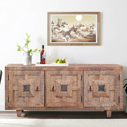 Saltash Rustic Solid Wood Hand-carved Accent Large Sideboard Cabinet