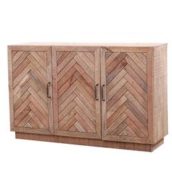Margam Rustic Solid Wood 3-Door Herringbone Sideboard Cabinet