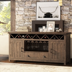 Atherton Solid Teak Wood Handcrafted Wine Bar Large Sideboard Cabinet