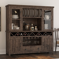 Atherton Solid Teak Wood Rustic Dining Room Hutch Cabinet With Bar Storage