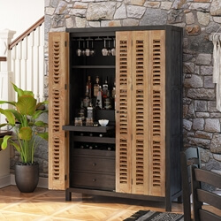 Belluno Solid Wood Tall Rustic Two Tone Bar Cabinet with Z-Fold Doors