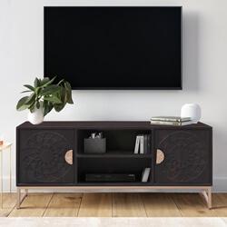 Jedburgh Black Solid Wood Hand-carved Door Modern TV Stand Cabinet