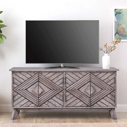 Solid Wood Decorative Hand-Carved 2-Door TV Cabinet