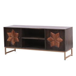 Newquay Solid Wood Rustic Media Cabinet with 2 Open Shelves