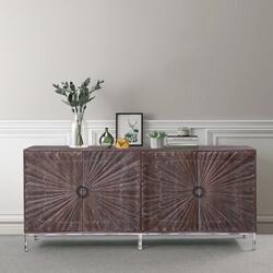 Tasmania Sunburst Rustic Solid Wood Extra Long Sideboard Cabinet