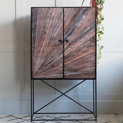 Corsica Sunburst Modern Rustic Solid Wood Industrial Accent Cabinet