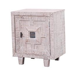 Saltash Rustic Distressed White Solid Wood 1-Door Nightstand
