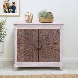 Amersham Sunburst Two Tone Solid Wood Storage Cabinet