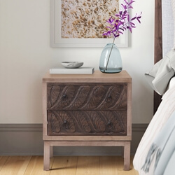Cody Hand Carved Solid Wood Nightstand with 2 Drawers