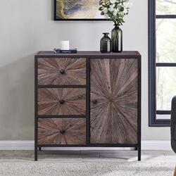 Corsica Rustic Solid Wood and Iron Sunburst Combo Dresser