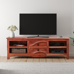Bombora Solid Wood 2 Drawer Media Cabinet with Scalloped Apron