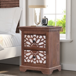Tuskegee Solid Wood Traditional Mosaic Two Drawer Nightstand