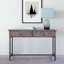 Tarquin Solid Wood Tropical Leaf Carved 2 Drawer Console Table