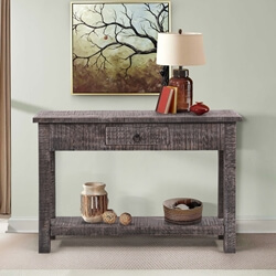 Opelika Rustic Solid Wood 2 Tier Farmhouse Console Table