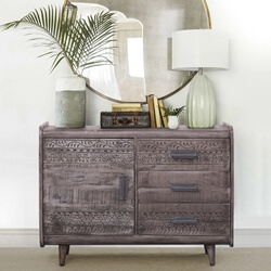 Nantwich Rustic Solid Wood3 Drawer Modern Combo Dresser