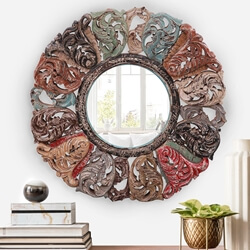 Geelong Decorative Vintage Solid Wood 38 Inch Round Wall Mirror Frame