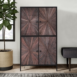 Corsica Rustic Solid Wood Sunburst Pattern Industrial Armoire