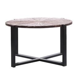 Bergamo Sunburst Solid Wood Round Dining Table With Iron Base