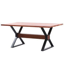 Welkom Solid Wood Industrial Table With X-shaped Pedestals