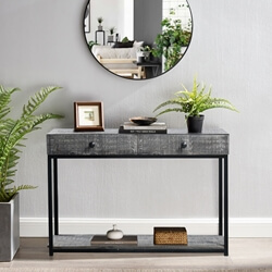 Geraldton Rustic Solid Wood 2-Drawers Industrial Console Table