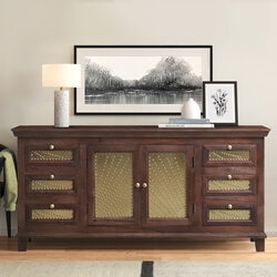 Healesville Rustic Solid Wood 6 Drawer Large Sideboard Buffet Cabinet