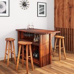 Lugano Solid Wood Rustic 5-Piece Bar Cabinet Set