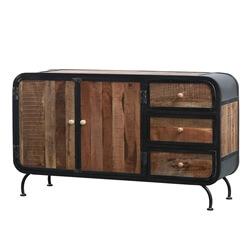 Teramo Rustic Solid Wood 3 Drawer Industrial Sideboard Buffet Cabinet