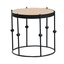 Cosenza Rustic Solid Wood Industrial Style Round End Table