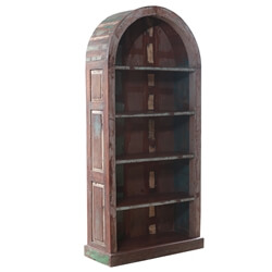 Milazzo Rustic Solid Wood Arch Dome Antique Bookcase