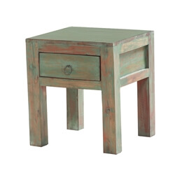 Comiso Distressed Solid Wood 1-Drawer Square End Table