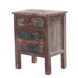 Sassari Distressed Solid Wood 4-Drawer End Table