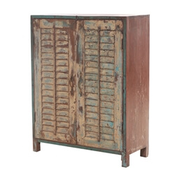 Cleburne Rustic Reclaimed Wood 3-Tier Antique Armoire